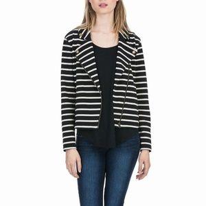 NWT Lilla P Knit Striped Moto Jacket L